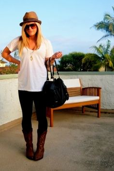 white T, tights and Boots. and top it off with a hat..no pun