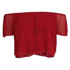 KEEPSAKE Red Off-the-shoulder Plissà Top Size L ❤ liked on Polyvore featuring tops, elastic top, off the shoulder tops, cut-out crop tops, red top and red crop top
