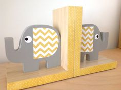 Elephant Bookends Yellow and Gray  ecofriendly by MapleShadeKids, $59.00
