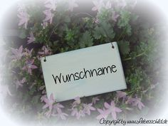 Tür- & Namensschilder - Mini- Schild > WUNSCHNAME < hellblau/ weiss - ein Designerstück von Liebesschild bei DaWanda