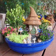 Fairy House Thatch Green by GardenFairyTale on Etsy Mini Fairy Garden, Garden Show, Summer Garden, Little Cottages, Patio Plants, Garden Pictures, Miniature Fairy Gardens, Succulents Diy, Garden Accessories