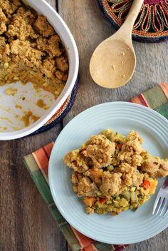 Sweet potato lentil pot pie with crumble crust