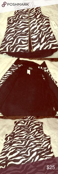 Casual Identity women's zebra print vest Brand New Vest by Casual Identity for women... zebra print fleece material on inside... very stylish with front zipper priced to sell... Casual Idenity Jackets & Coats Vests