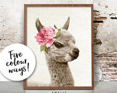 Nursery Animal Print, Baby Alpaca Wall Art, Printable Digital Download, Baby Girls Bedroom Decor, Watercolour Flower, Farmhouse Style