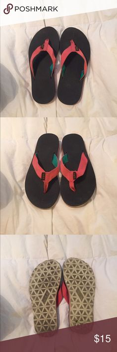 Teva flip flops Soles are a little dirty but in great condition overall. Worn twice! Teal and salmon. Shoes Sandals