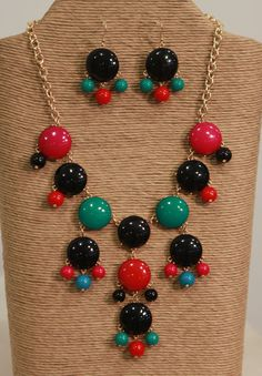 Designer Inspired Black and Multicolored Bubble Necklace and Bubble Earring Set from Southern Jewelry Auctions on Facebook!