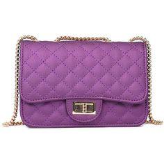 Purple Female Handbag Chain Bag Fashion Mini Bag Shoulder Messenger... (45 RON) ❤ liked on Polyvore featuring bags, mini bag, purple messenger bag, mini crossbody bags, courier bag and purple crossbody bag