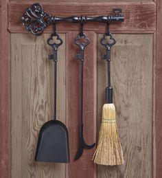 4 Piece Wrought Iron Horseshoe Fireplace Tool Set With