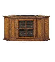 Wood Tv Stand Plasma Corner 50' Storage Sturdy Oak Solid Shelf Glass Panel New