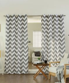 Gray Chevron Curtain Panel - Set of Two - modern - Curtains - zulily