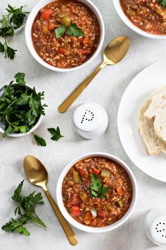 Stuffed Pepper Soup is loaded with the familiar flavors of traditional stuffed peppers and comes together in one pot. Serve up this hearty soup with crusty bread for the perfect weeknight meal!