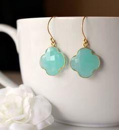 Aqua Chalcedony Quatrefoil Earrings Clover Earring by ByGerene, $45.00