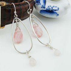 Rose Quartz Crystal Drop Earrings Crystal by EchosHealingStones