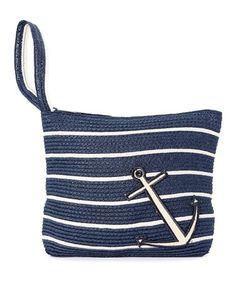 Navy & Ivory Anchor Stripe Wristlet #zulily #zulilyfinds