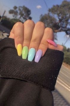 Rainbow nails are the perfect trend to add color to your hands Nail Art Design 21 Stylish fun design – Akuma Boy, ✅ naked nail polish 20 trendy winter nail colors and design ideas for 2019 – TheTrendSpotter Spring Nail Art, Nail Designs Spring, Cute Nails For Spring, Easter Nail Designs, Aycrlic Nails, Hair And Nails, Cute Gel Nails, Glitter Nails, Nice Nails