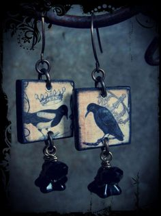 Black Bird Earrings by skyejewels on Etsy, $24.00