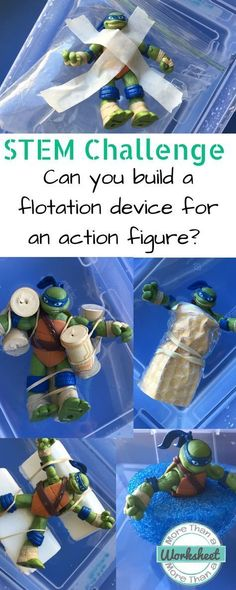 STEM Trifold: Flotation Device STEM Challenge: Can you build a flotation device for an action figure? from More Than a Worksheet. Guide your students through the entire STEM engineering process with a simple trifold. Teach about buoyancy and density while Figurines D'action, Steam Activities, Science Activities, Science Ideas, Science Experiments, Super Hero Activities, Kid Activites, Library Activities, Stem Science