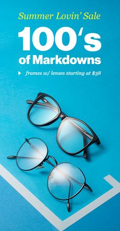 100's of markdowns up to 60% off, frames w/ lenses from $38 + free shipping. Shop now!