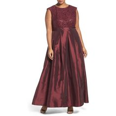 Plus Size Women's Chetta B Sequin Lace & Taffeta Gown ($158) via Polyvore featuring plus size women's fashion, plus size clothing, plus size dresses, plus size gowns, merlot, plus size, plus size evening gowns, red lace gown, red gown and plus size ball gowns