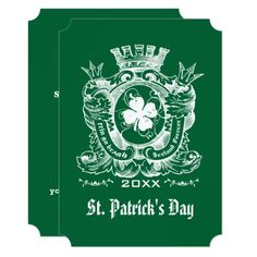 Let's Eat, Drink & Be Irish. Shamrock Coat of Arm Crest Design St. Patrick's Day Party / Celebration Personalized Invitations. Matching cards, postage stamps and other products available in the Holidays / St. Patrick's Day Category of the Mairin Studio store at zazzle.com