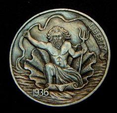 """Hobo Nickel """"Poseidon, God of the Sea"""" Full Horn Howard Thomas"""