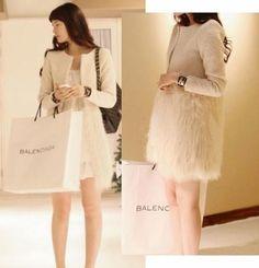 Women-Faux-Fur-Splicing-Slim-Fit-Winter-Trench-Coat-Jacket-Overcoat-Long-Blazer
