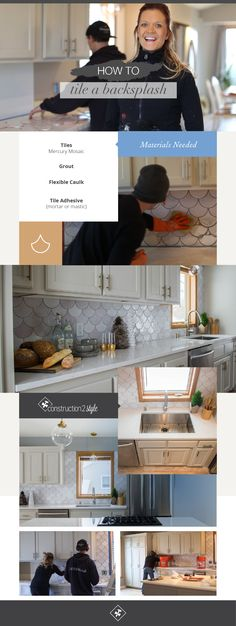 How to Tile a Backsplash with White Moroccan Fish Scale Tiles | Mercury Mosaics Tile, renovation by construction2style