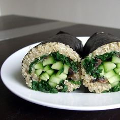 These #vegan Nori Wraps are stuffed with quinoa, mushrooms, kale, and cucumber, but customize yours with your favorite veggies!