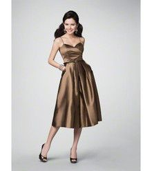 Brown bridesmaid dress with pockets