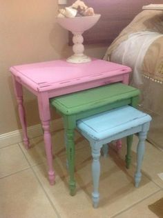 Old Vintage nest of tables are transformed with a simple coat of pretty paint ...