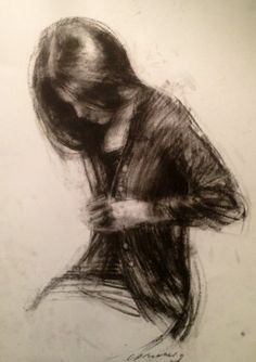 Charlie Mackesy, 'Cardigan drawing' charcoal on paper.