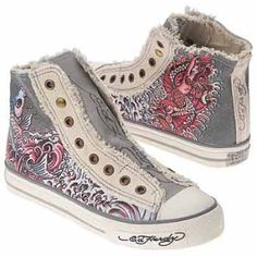 Ed Hardy Women's Highrise Cracked Lthr Koi Grey/Off White   Shop accessories, fashion   Kaboodle