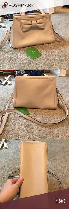 Kate spade purse Light pink / tan Kate spade purse! Only use for a 3 months. Almost per condition. Small dirt spot on bottom of bag. kate spade Bags Crossbody Bags
