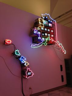 "Nam June Paik - d. Korean/American), ""Electronic Superhighway"", (detail of Continental U., Alaska and Hawaii). Nam June Paik, Neo Dada, Digital Projection, Information Age, Korean American, Climate Change, Modern Contemporary, Alaska, Bae"