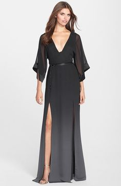 Halston Heritage Ombré Chiffon Belted Caftan Gown available at #Nordstrom