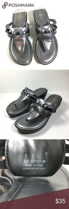 "Cole Haan Nike air silver sandals size 8 B 2"" heels Cole Haan Shoes Sandals"