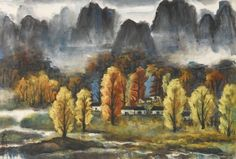 LIN FENGMIAN (1900-1991)  Autumn Forest  Signed, with one seal of the artist  Scroll, mounted and framed, ink and colour on paper  64.5 x 95 cm. (25 3/8 x 37 3/8 in.) 林風眠 秋林 設色紙本 鏡框 款識:林風眠。 鈐印:林風瞑印