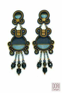 Soutache earrings Jeans style from Dori Cesengeri
