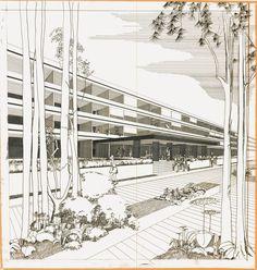 Perspective sur la façade et le hall d'entrée de la résidence-hôtel Athéna, dessinée par l'atelier Jean Dubuisson à la fin des années 1960