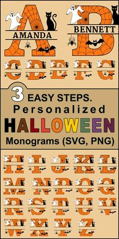 Halloween Letters, Halloween Stencils, Fun Halloween Crafts, Diy Halloween Decorations, Halloween Scrapbook, Halloween Parties, Fall Crafts, Holiday Crafts, Holiday Ideas
