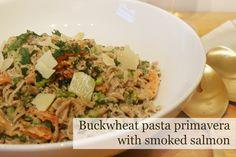 A healthier way to enjoy pasta? Try this recipe smoked salmon primavera with buckwheat pasta spirals. VIA http://www.memybestandi.com/2015/09/smoked-salmon-primavera-with-buckwheat-pasta-spirals.html