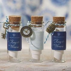 Miniature Glass bottles with a cork stopper are popular containers that can be used to create any number of custom favors your guests will enjoy. Whether filled with confections, beach trinkets or eve