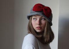VALENTINES SALE.. Brimmed hat gray women hat by beyazdukkan, $25.00