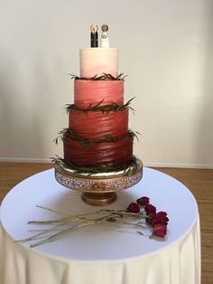 A gorgeous 4-tiered burgundy ombré #cake!