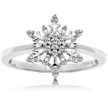 SNOWFLAKE LOVE ♥ 1/10 Diamond Snowflake Ring in White Gold | Shop accessories,luxury, fashion | Kaboodle