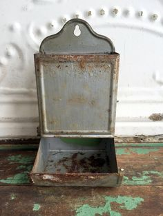 Vintage Metal Tin Match Safe Rusty chippy silver paint by Holliezhobbiez on Etsy