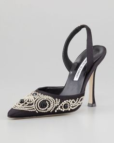 Manolo Blahnik 'Carolyne' Beaded Satin Shoes | Nordstrom