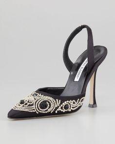 Manolo Blahnik 'Carolyne' Beaded Satin Shoes | Nordstrom