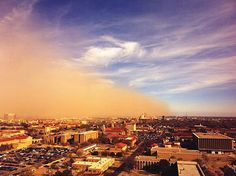 A cold front spun up a dust storm in Lubbock, Texas, Thursday. As the front moved into the area, the temperature dropped from 74 degrees F to 66 degrees F in only 13 minutes with winds of 30 mph. (Photo/Matt Mahalik)