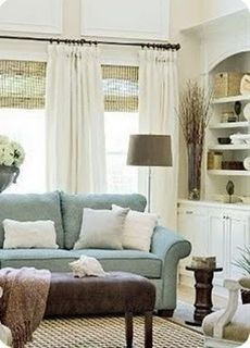 Great color palette. love the shades! - Shades an drapes like this for the living room